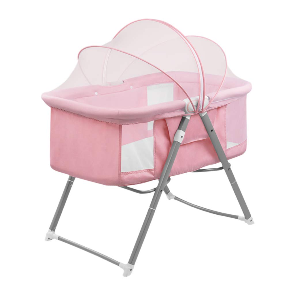Baby Nest Pod HUYP Newborn Baby Travel Cradle Bed Light Children's Bed Shaker Foldable 0-12 Months Baby Product (Color : Pink)