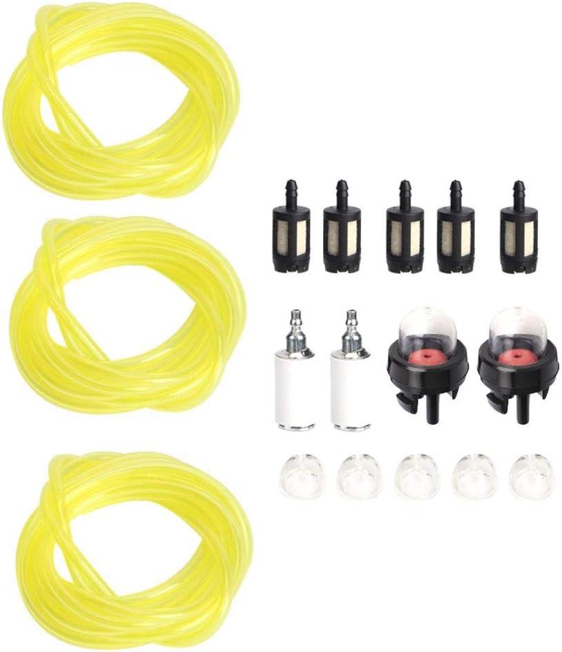 AUNMAS 3pcs línea de Manguera de Combustible Filtro cebador Bombilla 1.5m Motosierra Tubo de Combustible Universal Filtro de Combustible Cebo Conjunto de Bombilla Apta para poulan Snap