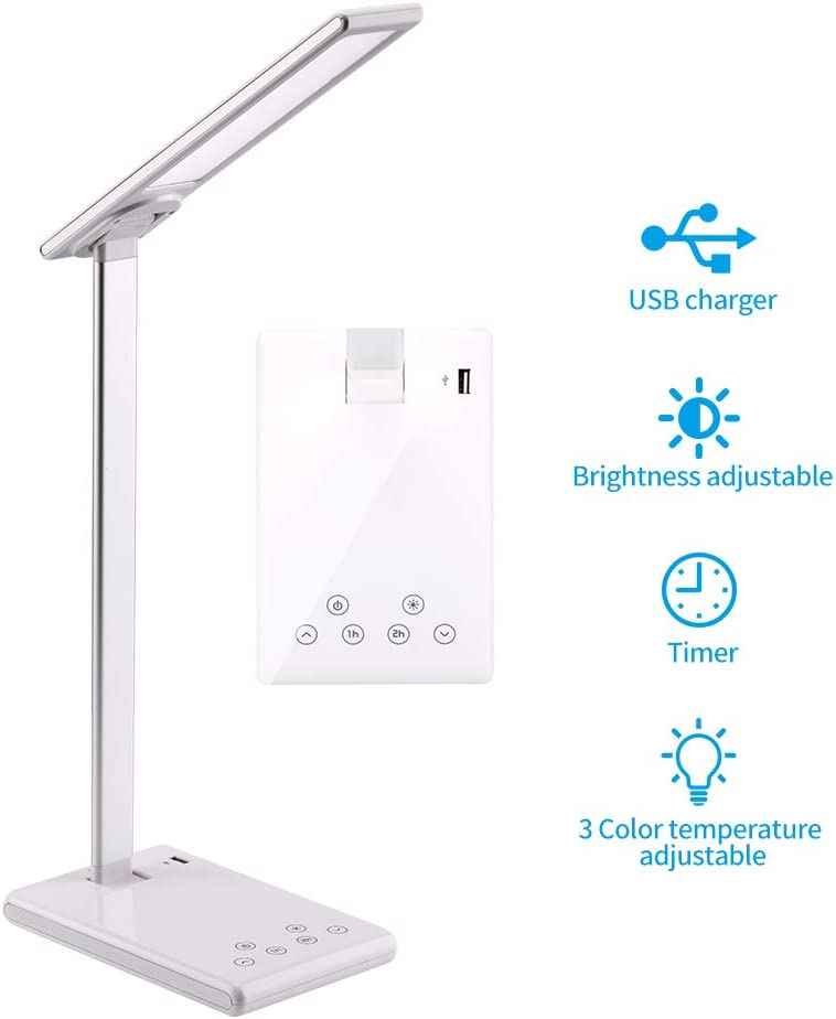 LED Desk Lamp with USB Port,Premium Metal Office Light 1H 2H Timer Setting Table Lamp Touch Control Memory Function Eye-Caring Automatic Timing 3 Lighting Modes and 0-100 dimming