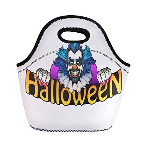 Semtomn Lunch Bags Character Black Monster Evil Clown Halloween Green Bright Circus Neoprene Lunch Bag Lunchbox Tote Bag Portable Picnic Bag Cooler Bag]()