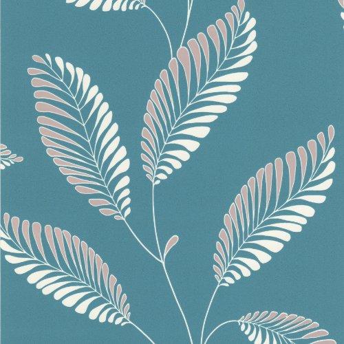 Brewster Decorline DL30467 Modern Leaf Trail Wallpaper, Aqua