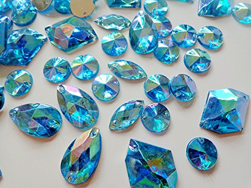300pcs mixed loading shape size sew on rhinestones sky blue AB colour Acrylic Crystal loose Beads hand sewing strass for dress by Zbroh