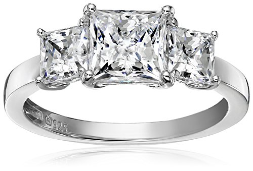 (Platinum-Plated Sterling Silver Princess-Cut 3-Stone Ring made with Swarovski Zirconia (3 cttw), Size 9)