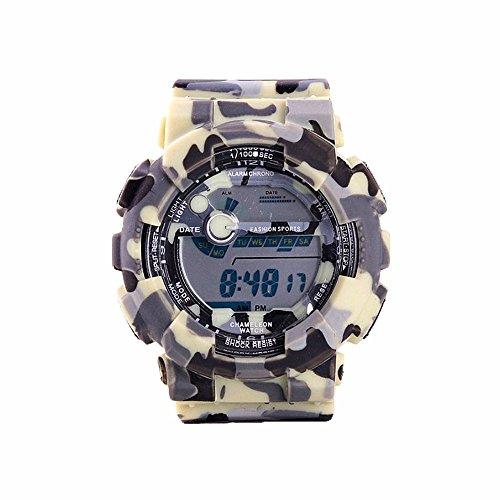 TAIXUN Kids Outdoor Sports Digatal Analog Dual Time TPU Band Electric Dress Wrist Watch Military Camouflage Led Waterproof Watch Yellow