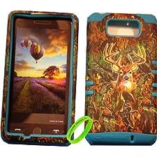 Cellphone Trendz High Impact Hybrid Rocker Silicone Case for Motorola Droid Maxx XT1080M / Droid Ultra XT1080 – Hunter Series Real Camo Mossy Deer Hard Shell (Blue)
