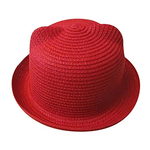 Price comparison product image SMALLE Clearance Summer Baby Boys Girls Hat CapChildren Cat Ear Breathable Hat Straw Kids Hat (49-51cm(Head Circumference),  Red)
