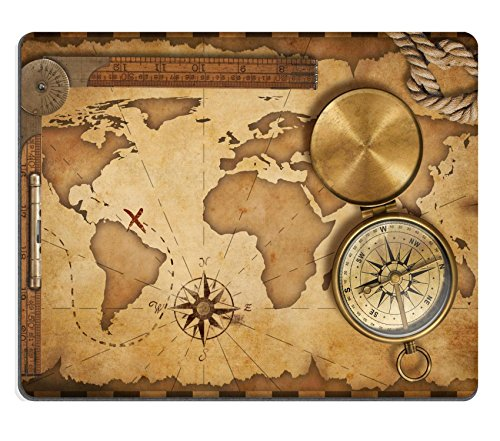 Price comparison product image MSD Natural Rubber Gaming Mousepad aged treasure map ruler rope and old brass compass with lid IMAGE 17307754