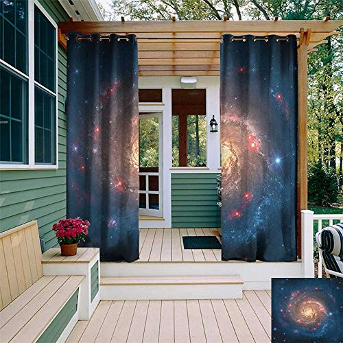 leinuoyi Outer Space, Outdoor Curtain Extra Wide, Mystical Spiral Galaxy Expanse Beyond Milky Way Planet Astral Space Art, for Patio Furniture W120 x L96 Inch Petrol Blue Peach (Astral Willow)