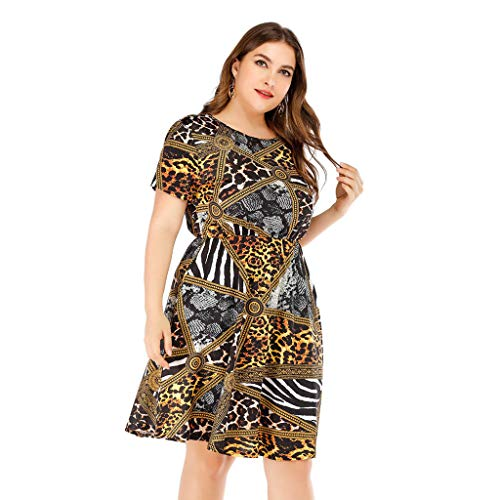 New in Respctful✿Women's Short Sleeve V-Neck Floral Leopard Print Tunic Pleated Dress Ladies Plus Size Beach Dress