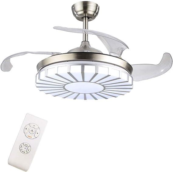 Candelabro LED con ventiladores de techo invisibles modernos, iluminación tricolor ajustable de 42 pulgadas y luz de ventilador de techo de tres etapas, candelabro de sala de estar: Amazon.es: Iluminación