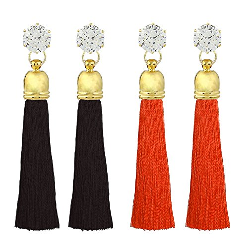 Hot Diamonds Diamond Huggie Earrings (Tassel Dangle Threader Drop Earrings Ear Studs Rhinestone Hoops Linear Tribal Women Crystal Charms Jewelry 2 Pair Red Black)