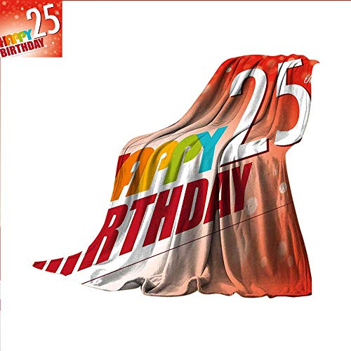 smallbeefly 25th Birthday Weave Pattern Blanket Abstract Modern Background with Colorful Letters Artistic Happy Ceremony Custom Design Cozy Flannel Blanket 50