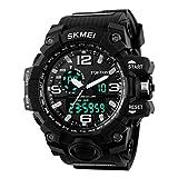 SKMEI Men's SK1155A Multifunctional Outdoor Sports Dual Time Analog Digital Wrist Watch Black