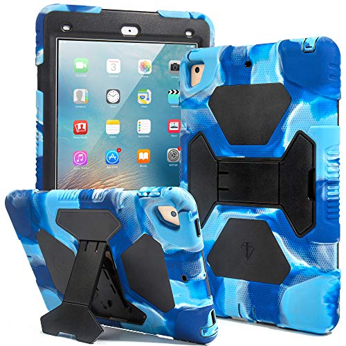 Kids Case for iPad 9.7 2018/2017, iPad Air 2, iPad Pro 9.7 Case Full Body Protective Silicone Cover Shockproof Scratchproof & Adjustable Kickstand for Apple iPad 9.7 5th / 6th Generation (Navy/Blue) (Skin Ipad Cases)