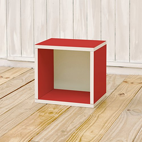 Way Basics 11.2 L x 13.4 W x 12.8 H Eco Stackable Storage Cube and Cubby Organizer, Red (Tool-Free Assembly and Uniquely Crafted from Sustainable Non Toxic zBoard paperboard)