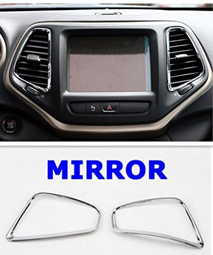 Nicebee Dashboard Air Condition Vents Trim Garnish Covers Bezel ABS Chrome For Jeep Cherokee 2014-2017 Silver Mirror