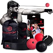 BOXERPOINT Boxing Reflex Ball for Adults and Kids - React Reflex Balls on String with Headband, Carry Bag and