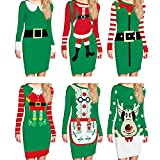 IRICEYE Women Christmas Print Round Neck Long
