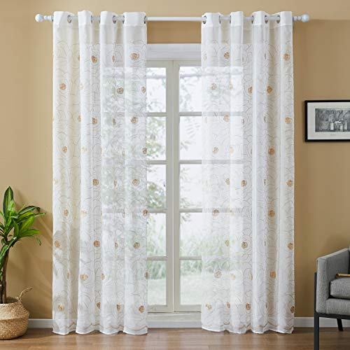 Top Finel White Sheer Curtains 96 Inches Long Grommet Brown Embroidered Floral Window Curtains for Living Room Bedroom, 2 ()