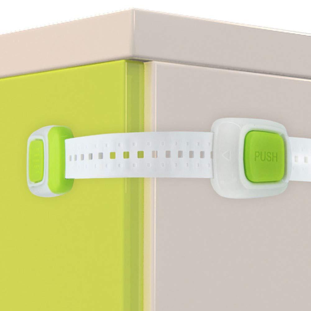 para uso en armarios de seguridad para beb/és multiusos verde Cierres de seguridad para caj/ón o armario con doble bot/ón para ni/ños