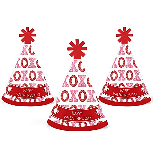 Conversation Hearts - Mini Cone Valentine's Day Party Hats - Small Little Party Hats - Set of 10 ()
