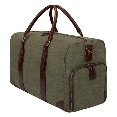 c0f6cab7c6 S-ZONE Canvas Leather Trim Travel Tote Duffel Shoulder Handbag Weekender  Bag Army Green