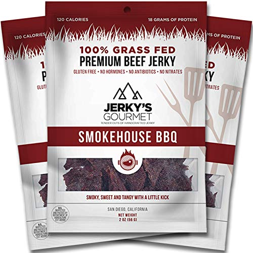 - Smokehouse BBQ Grass Fed Beef Jerky - 120 Calorie Snacks, Gourmet, Healthy, Low Carb, High Protein - Keto Friendly & Gluten Free (3 Packs)