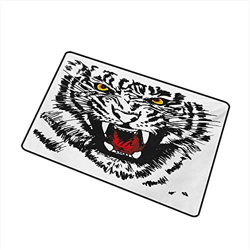 (Antibacterial Doormat Tiger Angry Feline with Black and White Pattern Realistic Eyes Hunting Surviving W16 xL20 Antifouling)