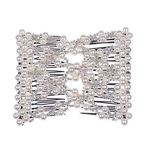 Casualfashion Delicate Women Girls Easy Stretch Pearls Combs Beaded Hair Comb Jewelry Double Clips (White) (Beaded Hair Net)