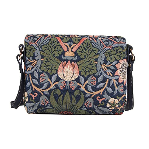 Blue Flower and Bird William Morris Strawberry Thief Tapestry Mini Satchel Cross-body Purse Bag with Adjustable Strap also as Small Shoulder Bag by Signare (XB02-STBL) (Satchel Tapestry Bag)