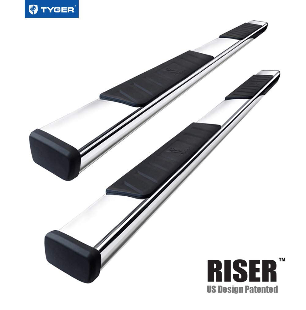 Tyger Auto TG-RS2C40037 Riser for 2007-2018 Chevy Silverado/GMC Sierra 1500 & 2007-2019 2500/3500HD Extended/Double Cab 4'' Stainless Steel Side Step Nerf Bars Running Boards