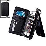 iPhone 6s Plus / 6 Plus Genuine Leather Wallet Case w/ Wrist Strap, Detachable Design Fashion Flip Cover w/ Card Slots and Cash Compartment for Apple iPhone6s Plus / iPhone6 Plus 5.5-Inch - Black