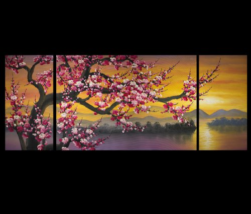 Abstract Painting Canvas Prints Modern Wall Art Décor Japanese Cherry Blossom Art by Fengshui-paintings.com