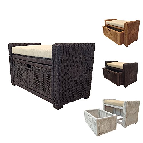 Rattan Chest Storage Ottoman model Eva with Drawer and Cushion Dark Brown