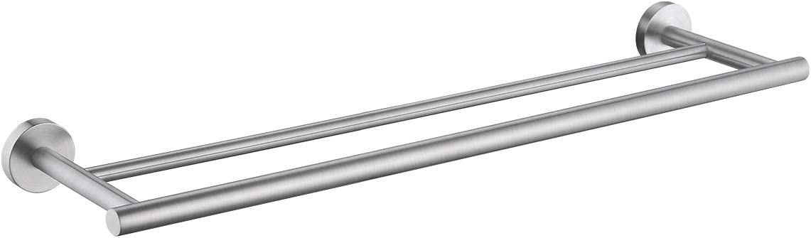 Kes 23 6 Inch Double Towel Bar Sus304 Stainless Steel Bathroom Kitchen Towel Holder Dual Towel Rod Rustproof Wall Mount Brushed Finish A2001s60 2 Amazon Com
