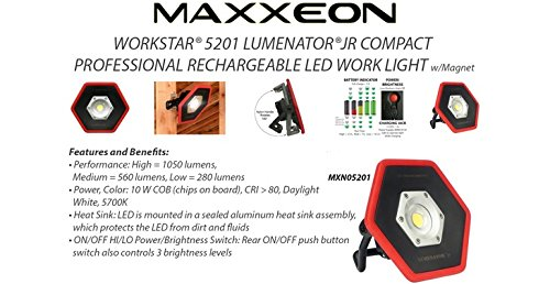 MAXXEON MXN05201 Lumenator Jr. The Compact Professional LED Work Light with MXN10085 Magnet