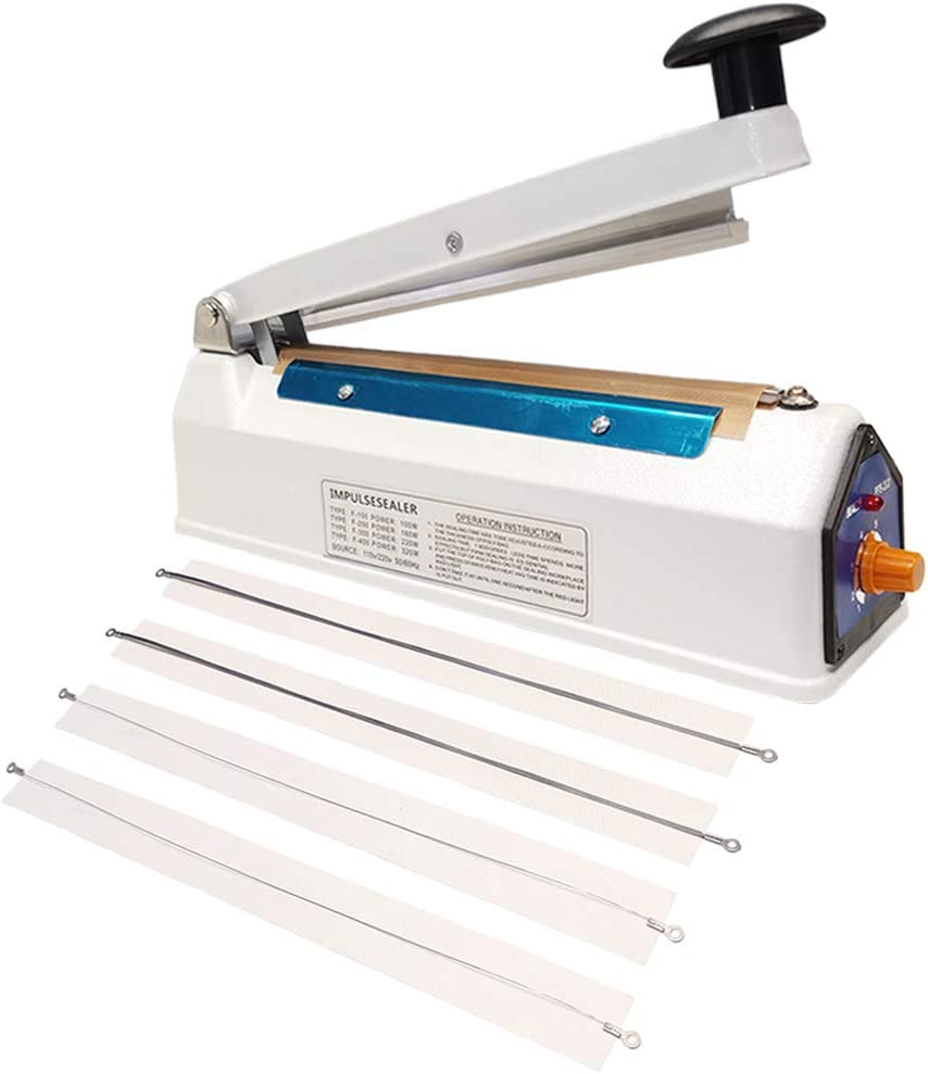 Impulse Heat Sealer Bag Sealer Packaging Machine 3mm Sealing for Bag Width Sealing Machine for Self Sealing Plastic with Extra 4 Replacements(8 inches)