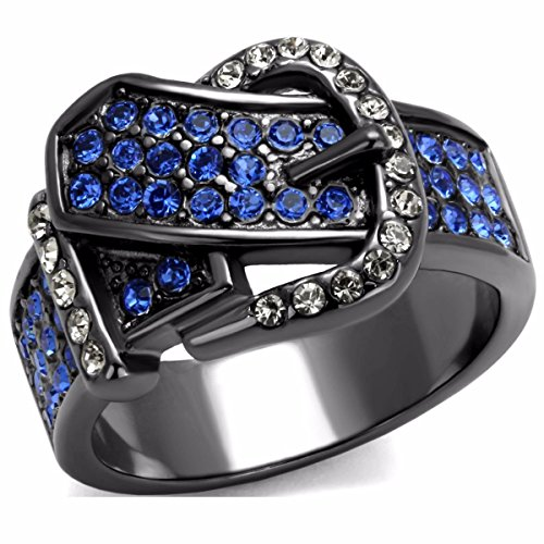 - Lanyjewelry Royal Blue Multi Color Crystal IP Light Black Stainless Steel Belt Buckle Ring - Size 8