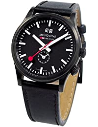 'SBB' Quartz Stainless Steel and Leather Casual Watch, Color:Black (Model: A687.30308.64SBB)
