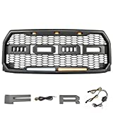 MICTUNING Raptor Style Grill Kit For Ford F-150 with Lights 2015 2016 2017 Front Bumper Conversion ABS Upper Replacement Grille with Letters F&R