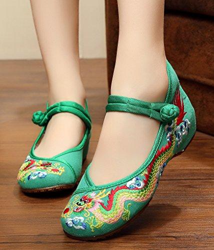 verde de Verde Zapatos tacón ezShe mujer 6wnFq8Xx