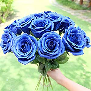 Royal Navy Blue Paper Rose Unique Anniversary Gift For Her Handmade Crepe Paper Flowers for Valentine Birthday Mother Day, Single Long Stem Real Looking, 01 Flower 9