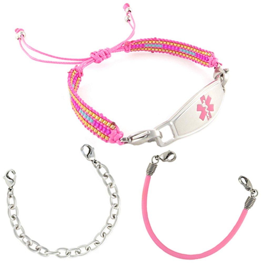 Value Pack (3) Medical Alert ID Bracelets | Free Engraving | Fun Interchangeable Styles |Custom Size | Fits Womens & Teens | Farah
