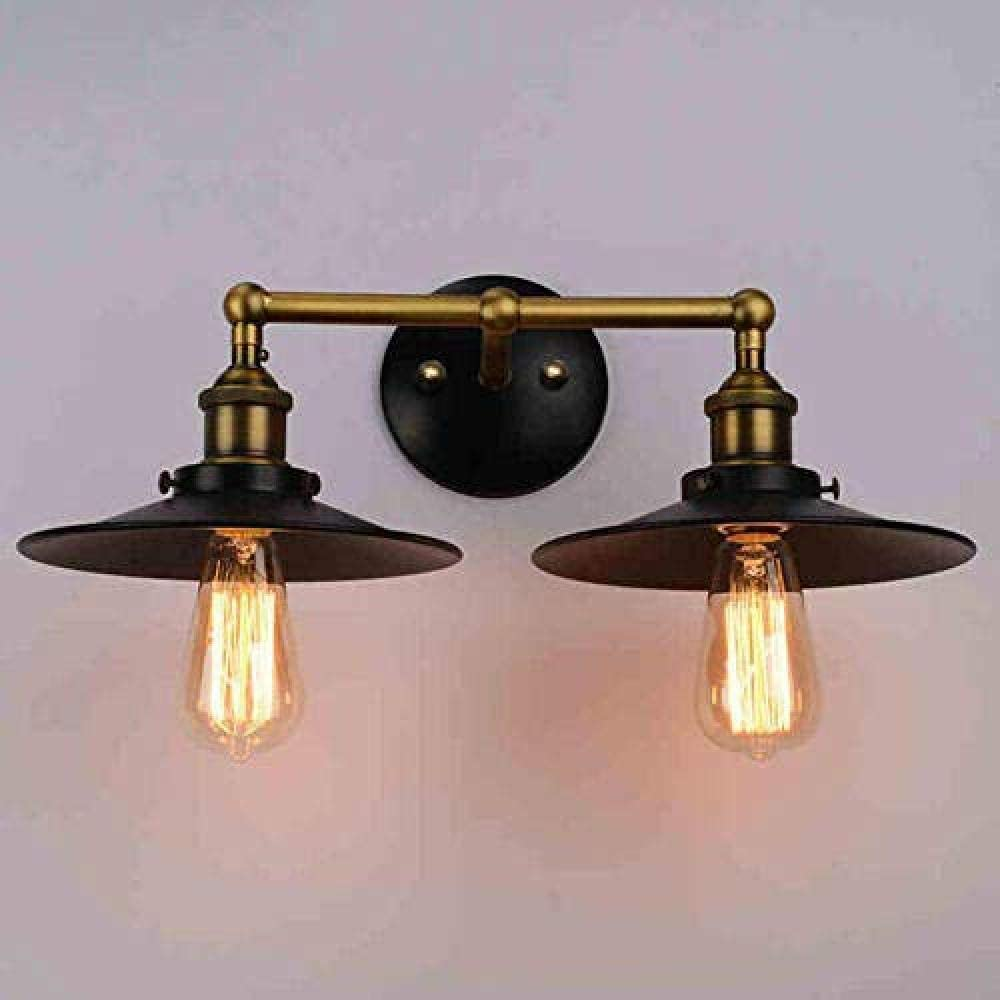 Lámpara de pared Personalidad vintage faroles dobles de hierro forjado pasillo al aire libre