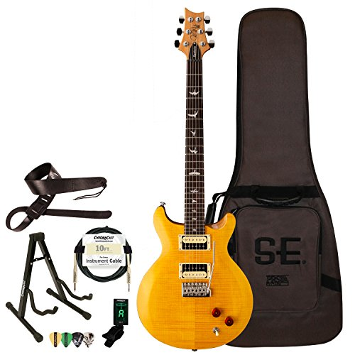 PRS 6 String Electric Guitar Pack, Right Handed, Santana Yellow, w/Hard Case & Accessories (SASY-KIT-2)