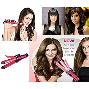 Nova Straight Hair Curler Curling Iron Straight Hair Comb Rule Beauty Women Tools 2 In 1 Multifunction