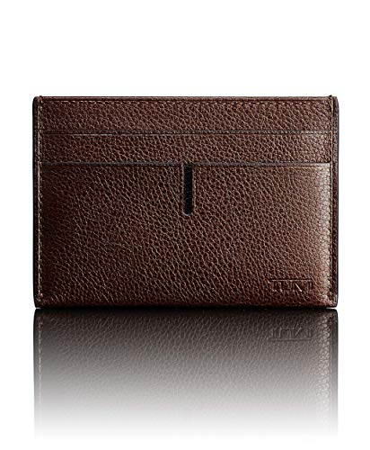 TUMI Men's Nassau ID Lock Money Clip Card Case, Dark Brown Textured, One Size -