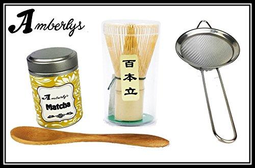 Matcha Set with Traditional Bamboo Mocha Whisk, Sieve, Tin of Macha Green Tea Powder and Spoon -