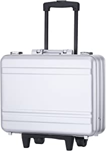 "Rolling 17"" Laptop Briefcase on Wheels Attache Lawyers Case Legal Size Metal Trolley Portable Tool Chest with Foam (18.1X13.8X6.1 inch, Silver)"