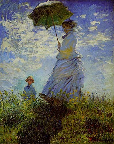 Toperfect $50-$2000 Custom Made - Hand Painted Art Paintings of The Walk Claude Monet Woman with a Parasol Oil Painting Reproduction on Canvas Old-4 Famous -20 x 24 Inches